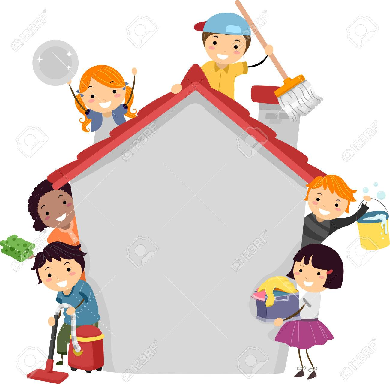 1300x1280 Stickman Illustration Of Kids Doing Different Chores Stock Photo