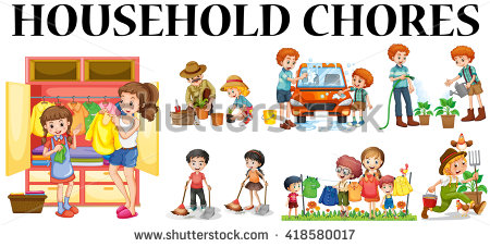 450x227 Family Doing Household Chores Clipart