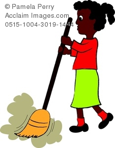 233x300 Art Image Of A Little African American Girl Sweeping