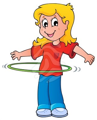 323x400 Girl Exercise With Hula Hoop Clipart Image
