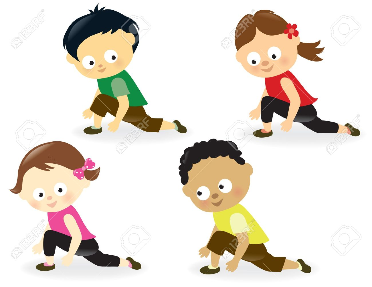 1300x1003 Kids Doing Leg Stretches Royalty Free Cliparts, Vectors, And Stock