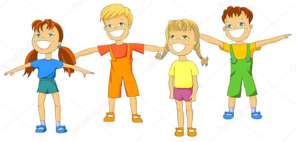 1024x493 Happy Kids Doing Exercises. Stock Photo Regisser Com