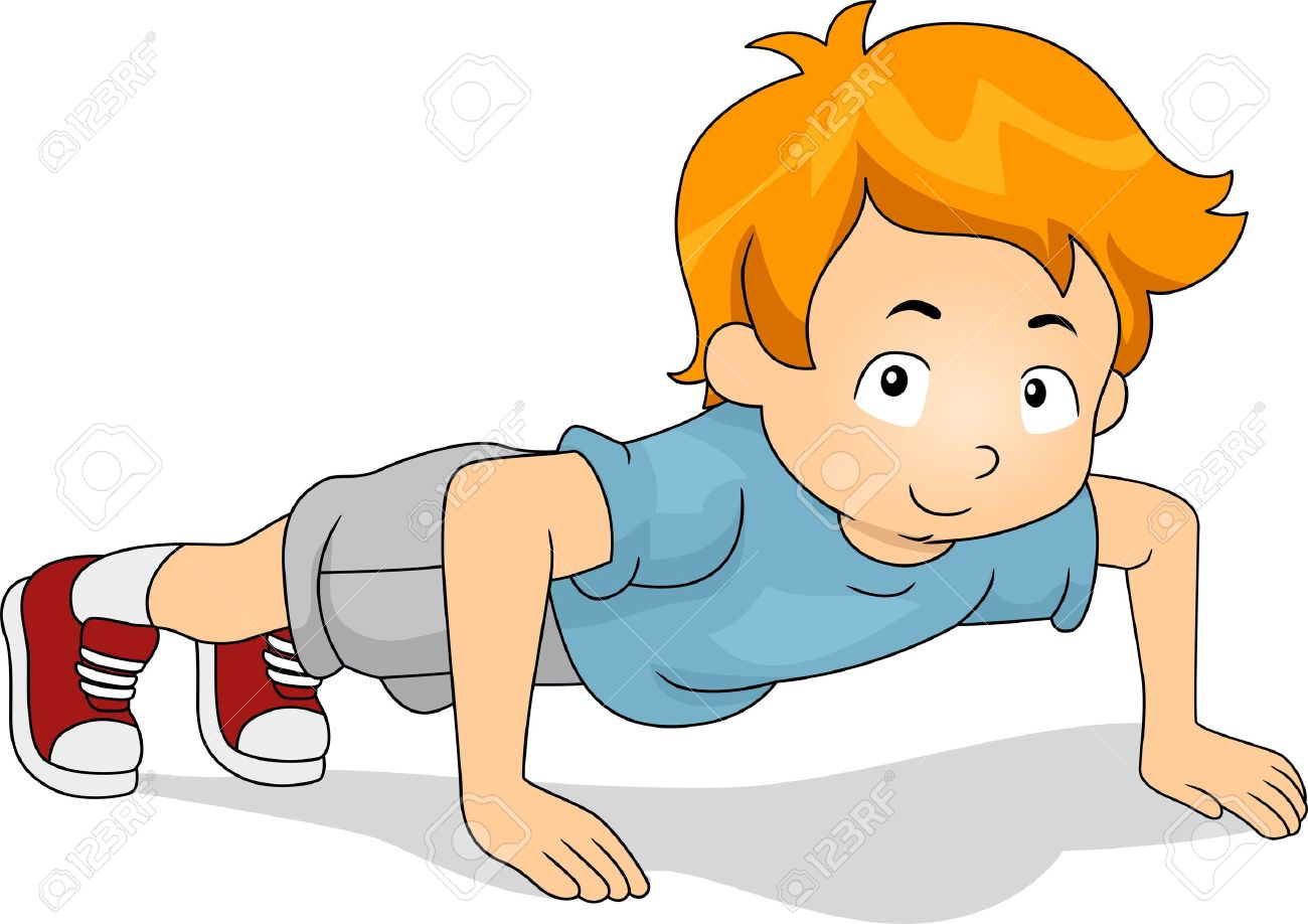 1300x918 Illustration Of A Kid Doing Pushups Stock Photo, Picture