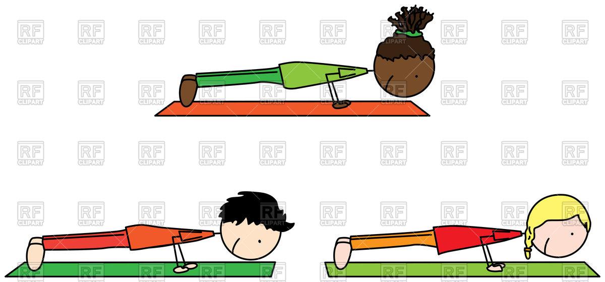 1200x559 Cartoon Three Kids Exercising Royalty Free Vector Clip Art Image