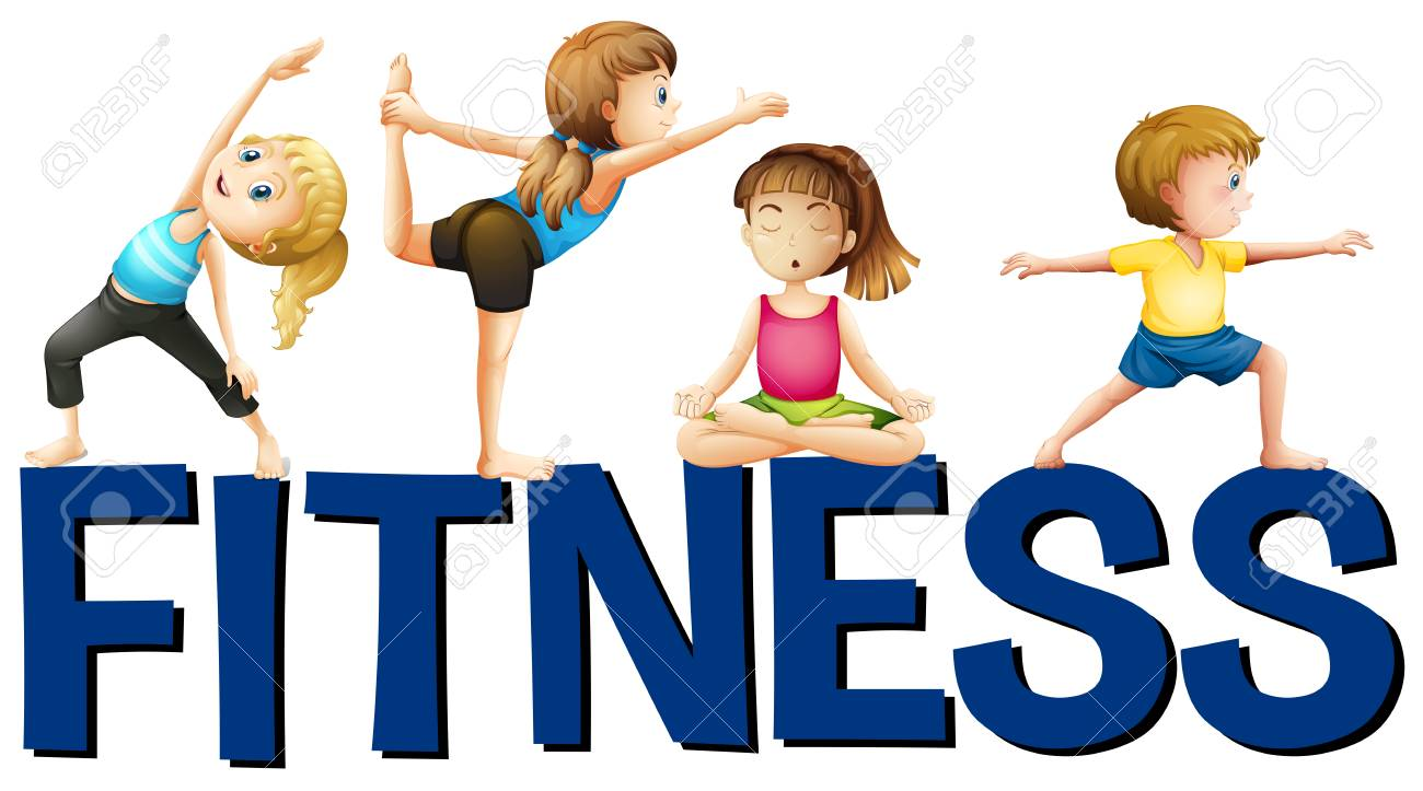 1300x723 Word Fitness With People Doing Yoga Illustration Royalty Free