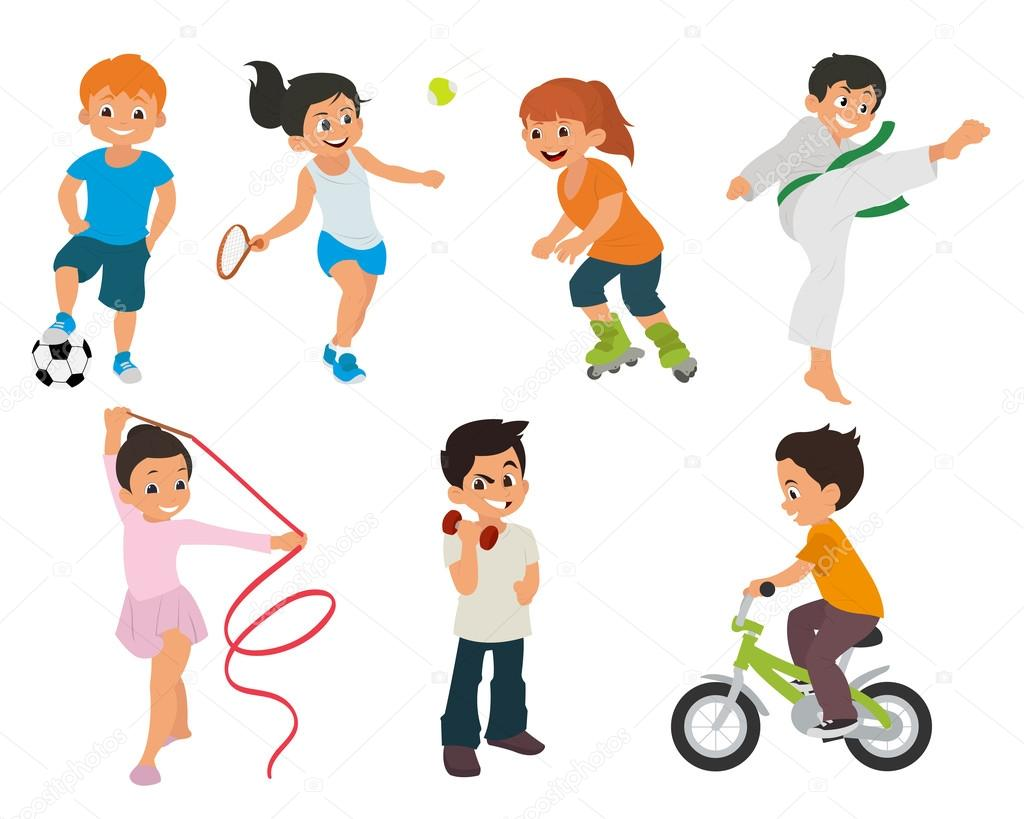 1024x819 Sports Kids Are Actively Involved In Sports. Stock Vector