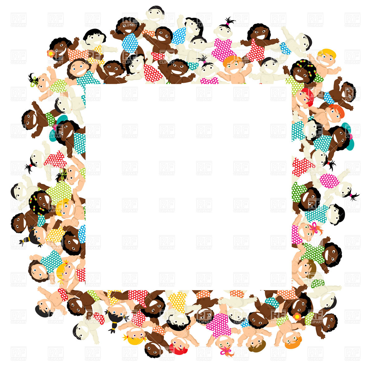 1200x1200 Decorative Frame With Multiethnic Children Royalty Free Vector