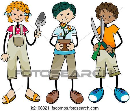450x385 Clipart Of Gardening Kids K2108321