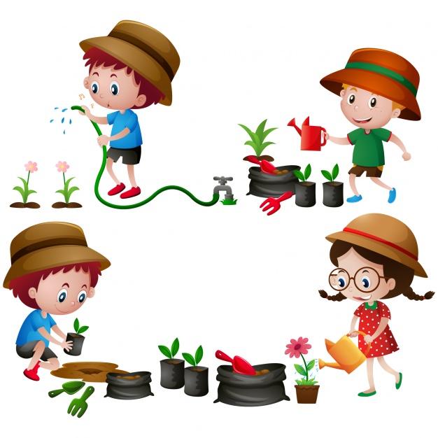 626x626 Kids In The Garden Design Vector Free Download