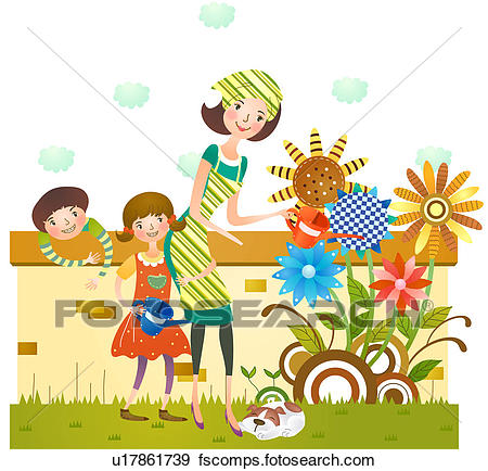 450x434 Stock Illustration Of Mother And Daughter Watering Flower Plants