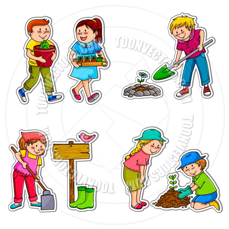 940x940 Cartoon Gardening Kids By Ayelet Keshet Toon Vectors Eps