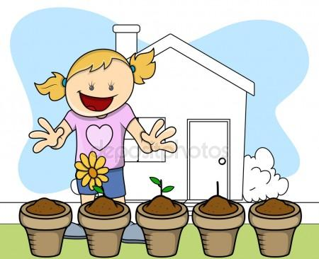 450x366 Children Planting Stock Vectors, Royalty Free Children Planting