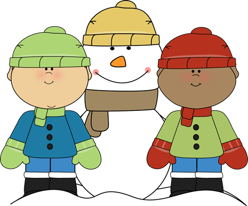 500x416 Little Boys With Snowman Clip Art