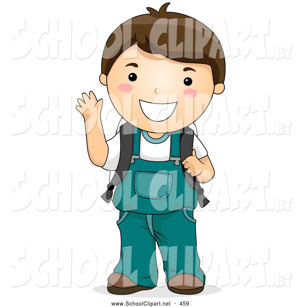 1024x1044 Clip Art of a Grinning Happy Waving Brunette School Boy in