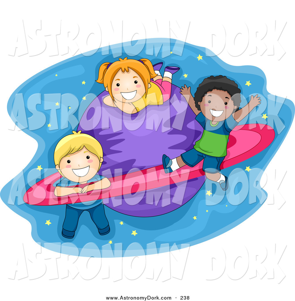 1024x1044 Clip Art of a School Kids Playing on a Planet with Rings by BNP