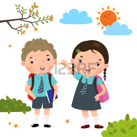 450x450 clipart of kids going to school