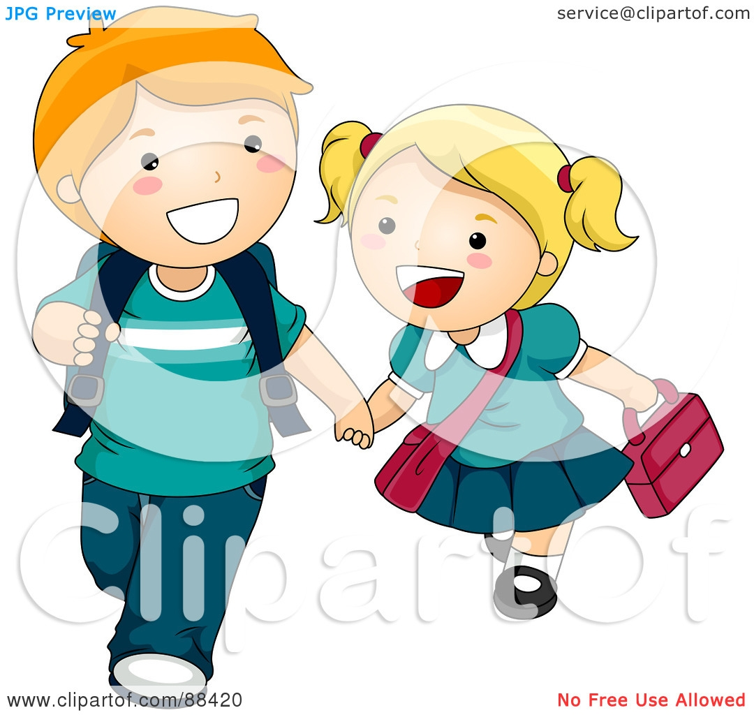 1080x1024 kid walking to school clipart