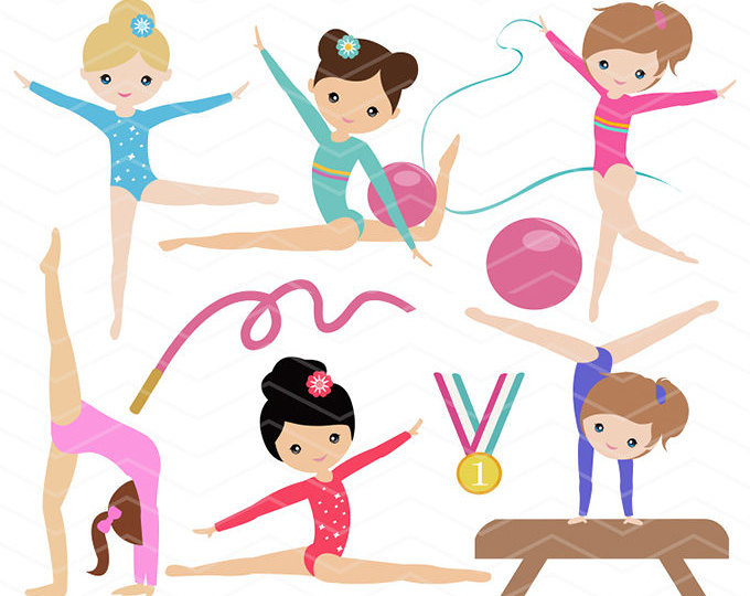 680x540 Gymnastics Digital Clipart, Digital Girls Gymnastics Clip Art