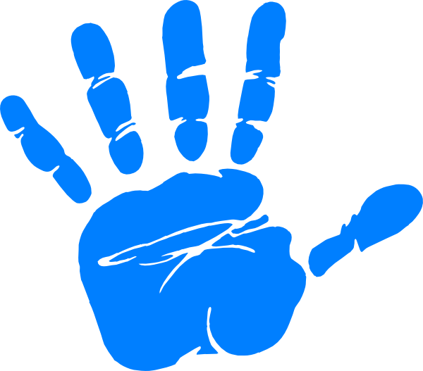 600x527 Blue Hand Print Clip Art