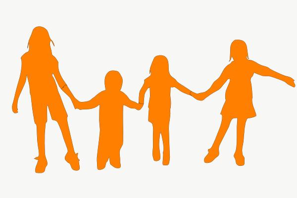 600x400 Kids Holding Hands Orange Clip Art