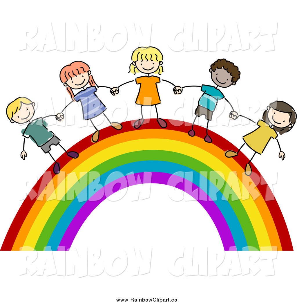 1024x1044 Vector Clip Art Of A Doodled Kids Holding Hands On A Rainbow By