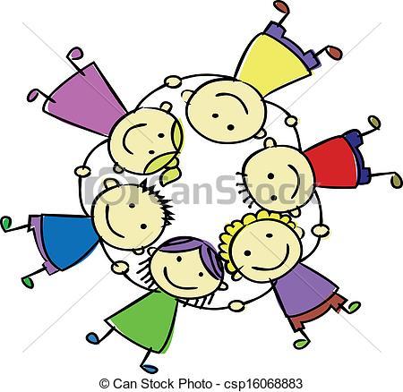 450x438 Vector Of Happy Kids Holding Hand Csp16068883