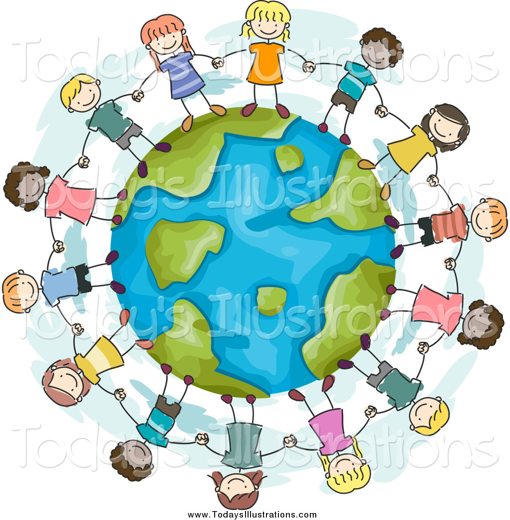 1024x1044 Clipart Of Stick Kids Holding Hands On Earth By Bnp Design Studio