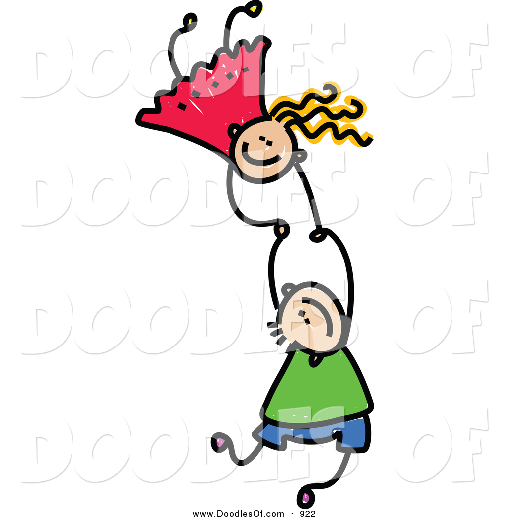1024x1044 Vector Clipart Of A Doodled Of Two Caucasian Kids Holding Hands