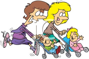 350x234 Cartoon Of Mother's Jogging With Their Kids In Strollers