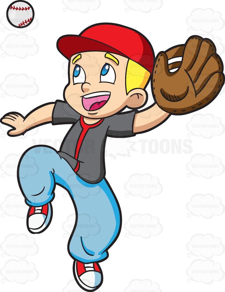 791x1024 A Boy Catching A Baseball Clip Art