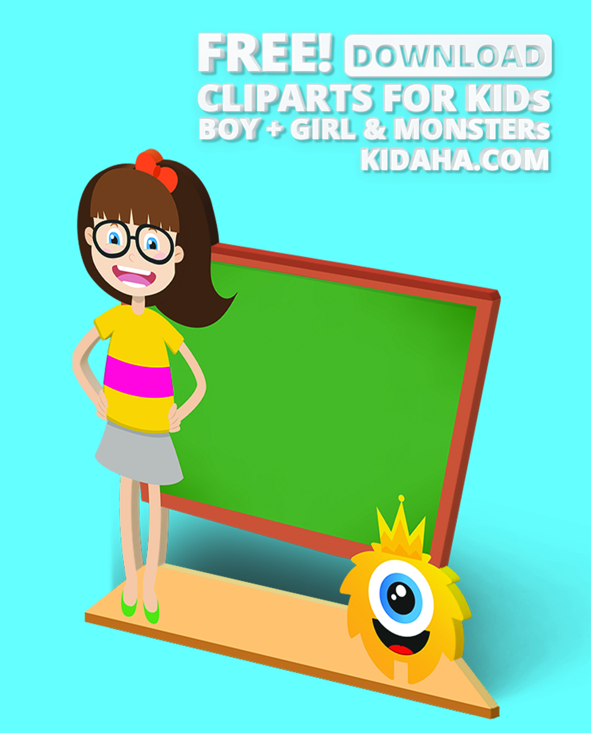 1160x1439 Girl And Her Monster Standing In Front Of Blackboard Creative