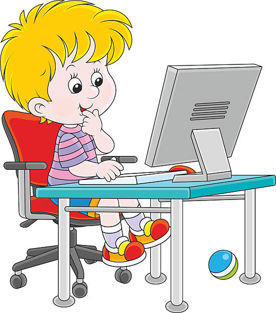 540x612 Kid Playing Computer Clipart