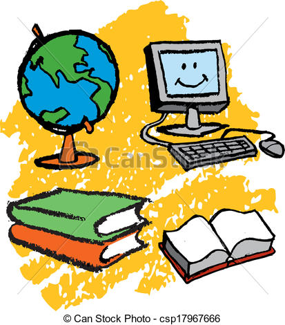 413x470 Books And Computer Clipart