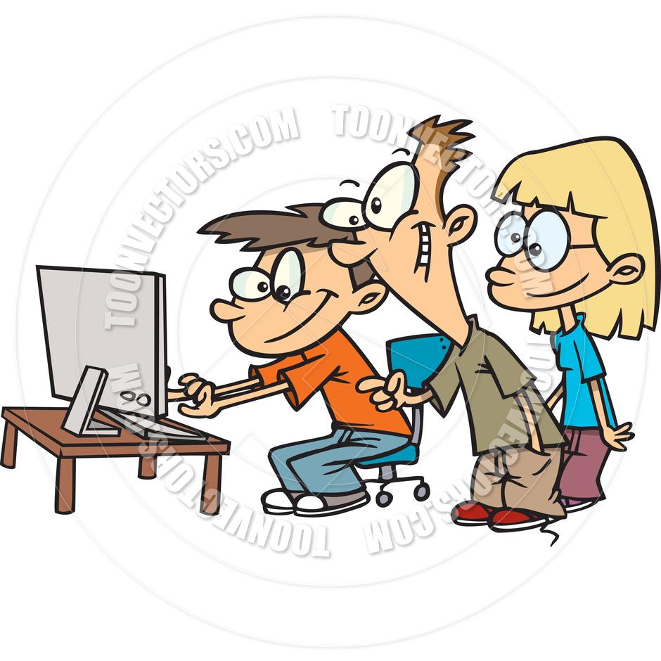 940x940 Cartoon Computer Kids By Ron Leishman Toon Vectors Eps