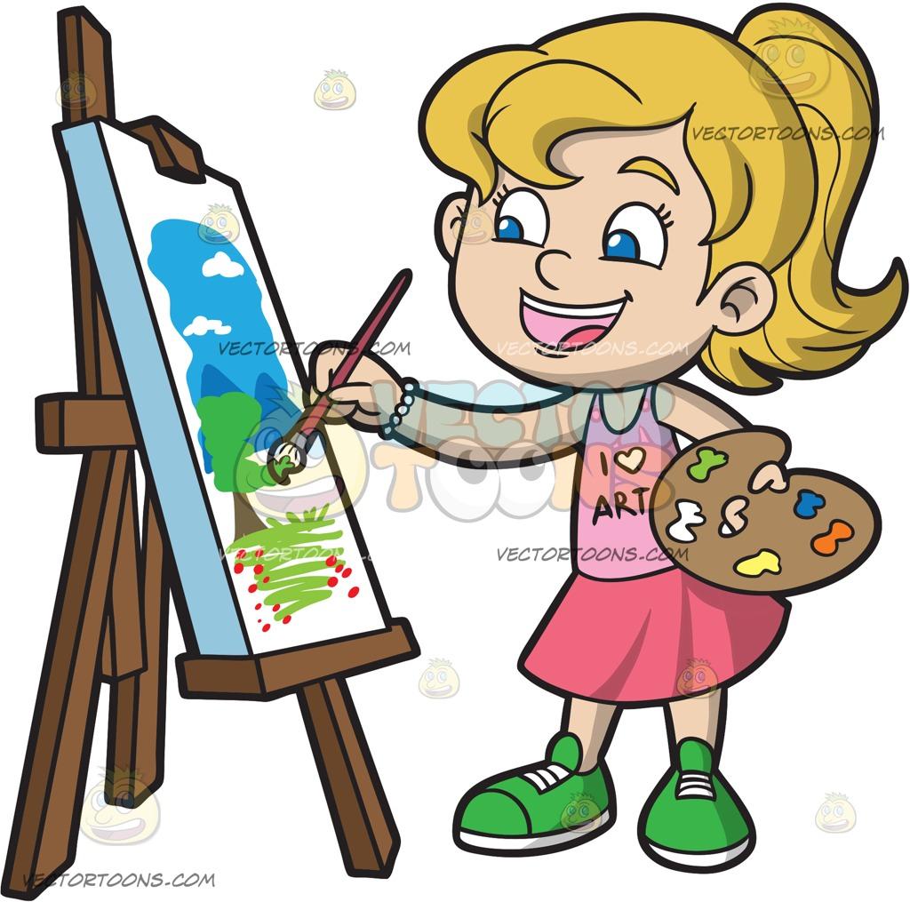 1024x1015 A Girl Painting A Landscape Cartoon Clipart
