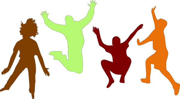 600x331 Kids Jumping (Fall) Clip Art