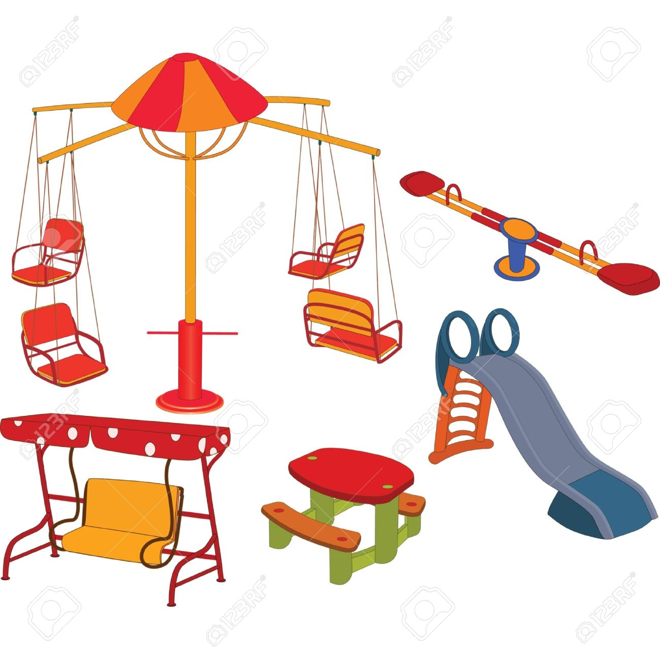 1300x1300 The Complete Set A Children's Swing. Clip Art Royalty Free