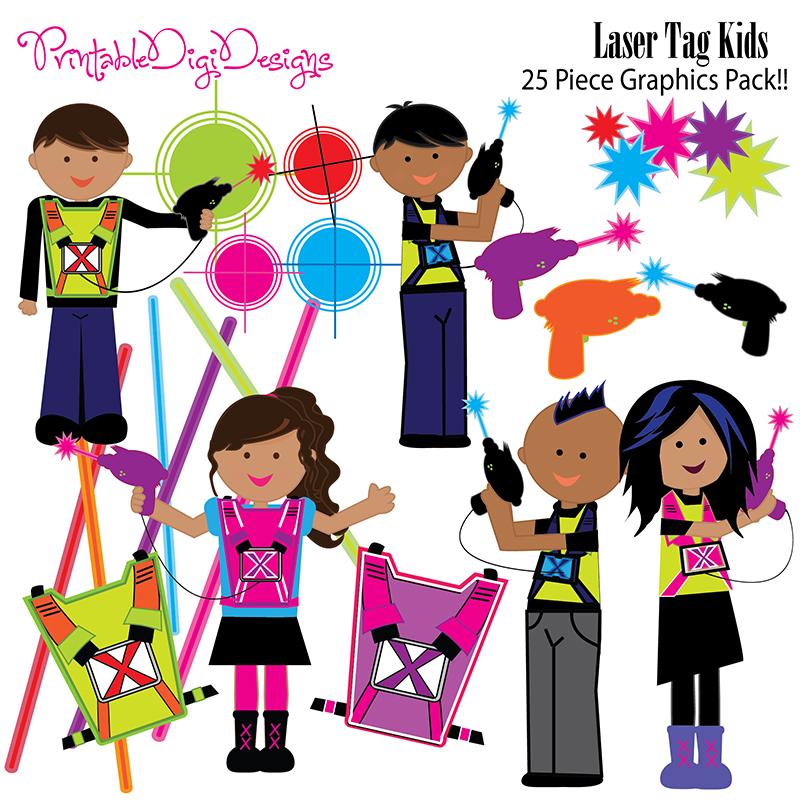 800x800 Laser Tag Kids Clipart Graphic Set Clip Art