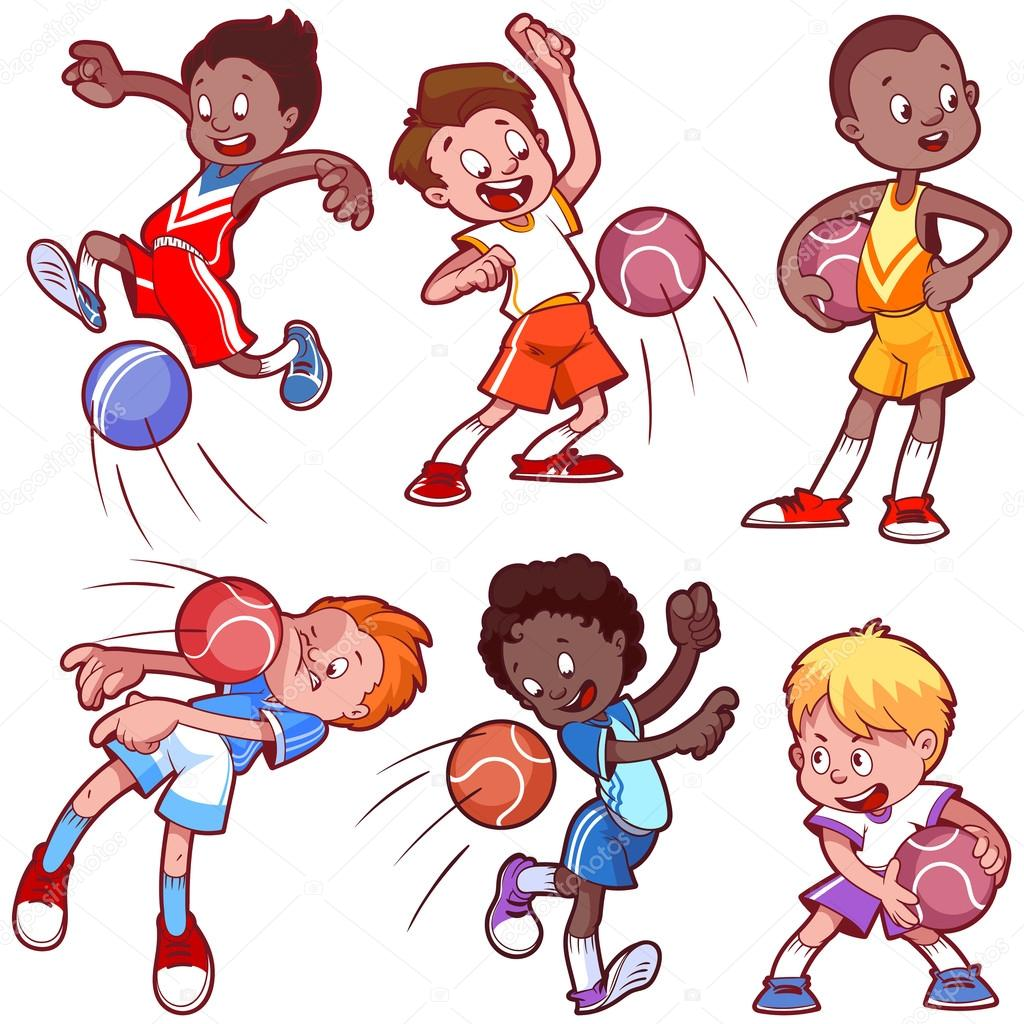 1024x1024 Cartoon Kids Playing Dodgeball. Vector Clip Art Illustration