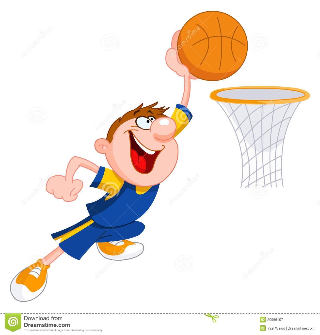 Kids Playing Basketball Clipart