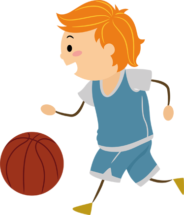374x437 Little Boy Playing Basketball Kids Sticker