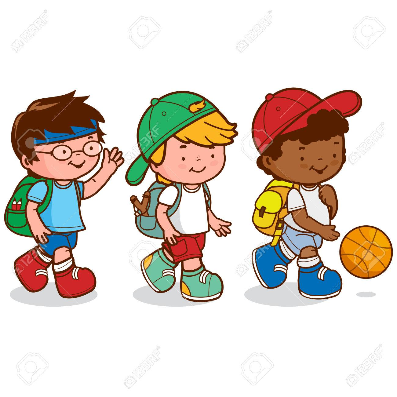 1300x1300 Three Children Meet After School To Go Play Basketball. Vector