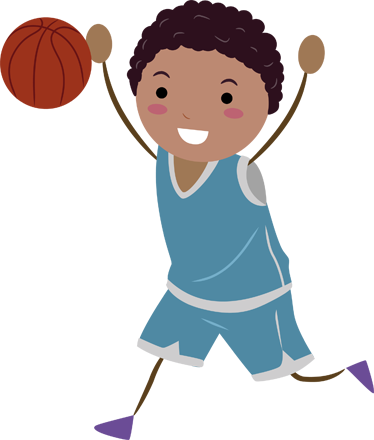 374x440 Young Boy Playing Basketball Kids Sticker