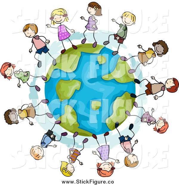 600x620 Clip Art Of Stick Kids Playing On A Globe By Bnp Design Studio
