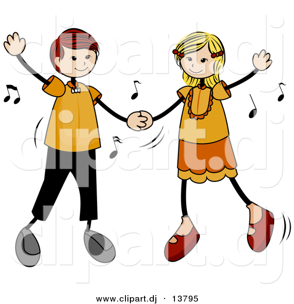 600x620 Cartoon Vector Clipart Of A Stick Figure Kids Dancing To Music By