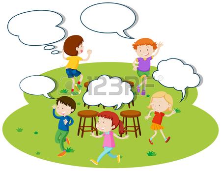 450x348 Children Playing Music Chairs In The Park Illustration Royalty