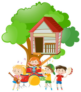 262x300 Children Playing Music Under The Tree Illustration Royalty Free
