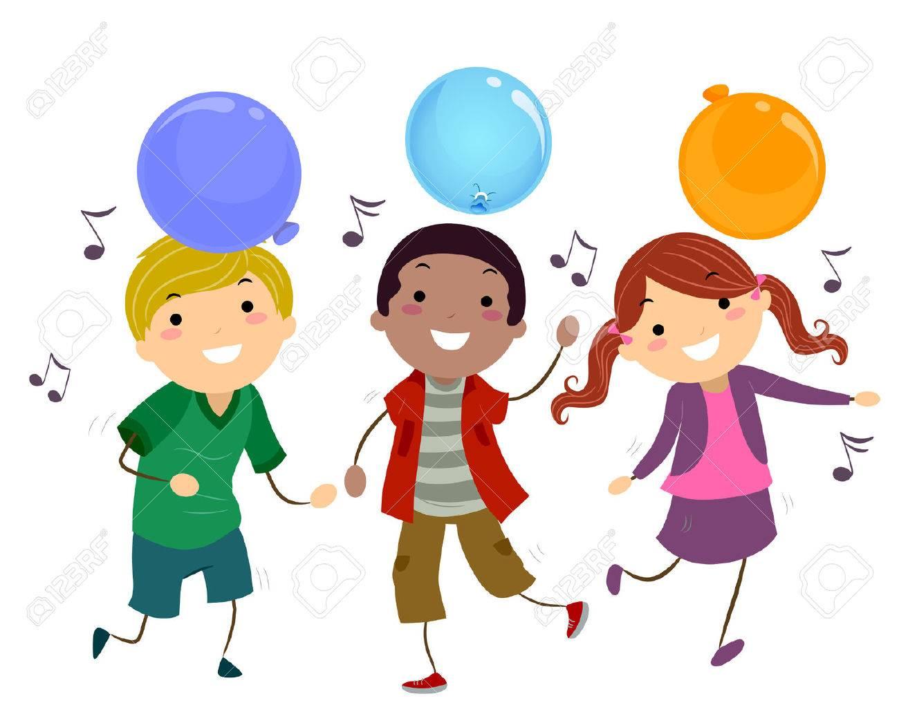 1300x1046 Stickman Illustration Of Kids Dancing To Music Stock Photo