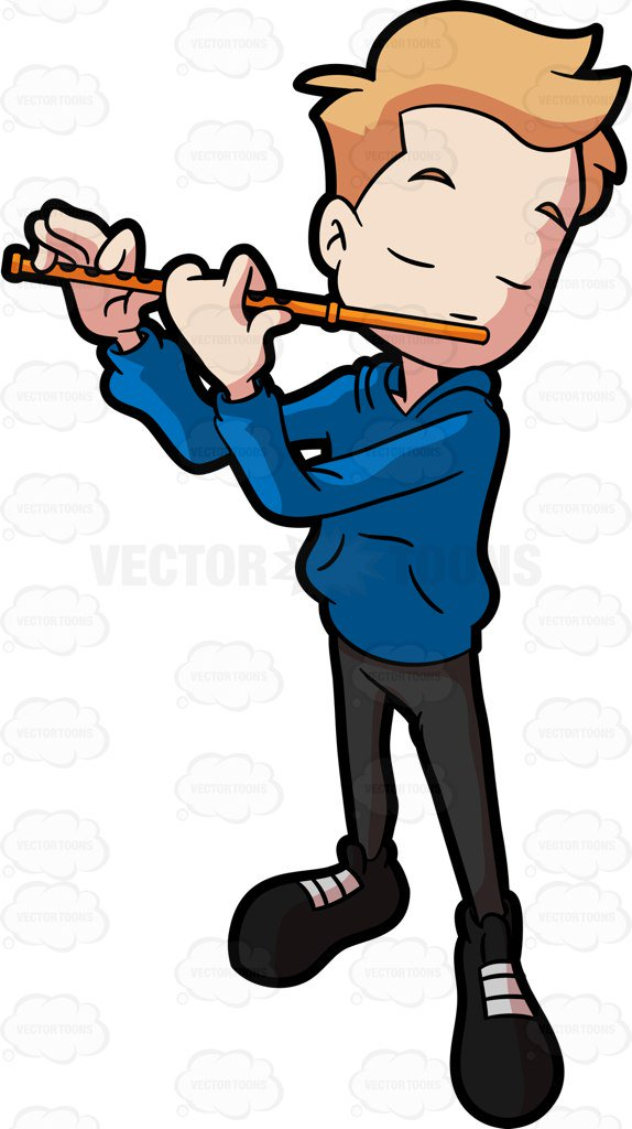 574x1024 An Adolescent Boy Making Music With A Flute Cartoon Clipart