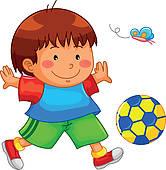 166x170 Clip Art Of Children Playing A Ball K20846888